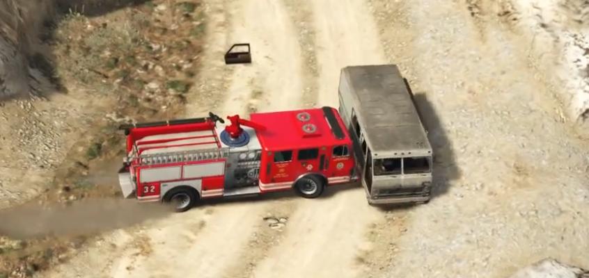 Pushing an RV off a cliff with a stolen firetruck