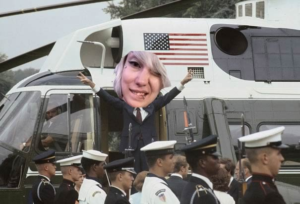 An unaltered photo of Zoe Quinn leaving Kotaku Magazine with her boyfriend in Marine One.
